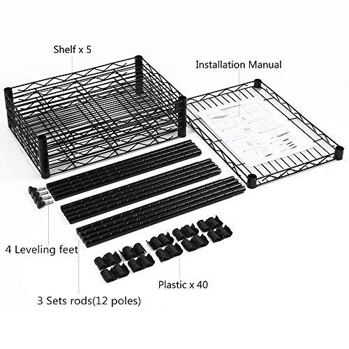 YOHKOH 5-Wire Shelving Metal Storage Rack Adjustable Shelves for Laundry Bathroom Kitchen Pantry Closet, Black