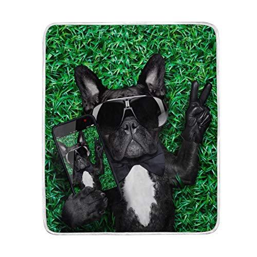 MyDaily Dog Taking Selfie Victory Fingers Überwurfdecke Polyester Mikrofaser Leichte Couch Bett Decke 127 x 152 cm