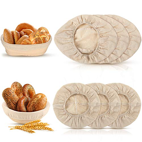 3 Pieces 10 Inch Oval and 3 Pieces 9 Inch Round Bread Proofing Basket Cloth Liner, Round Brotform Liner Oval Natural Rattan Baking Dough Sourdough Banneton Baskets Cover