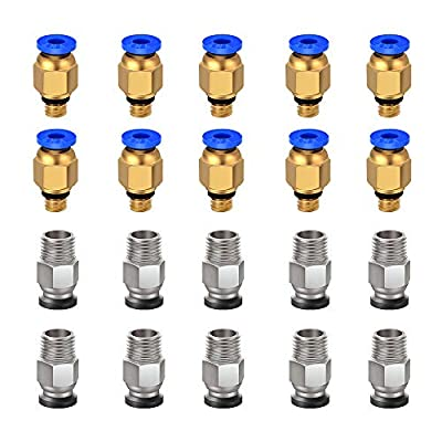 Ewigkeit PC4-M6 Pneumatic Fitting Push to Connect + PC4-M10 Straight Quick in Fitting for 3D Printer Bowden Extruder (Pack of 20pcs)