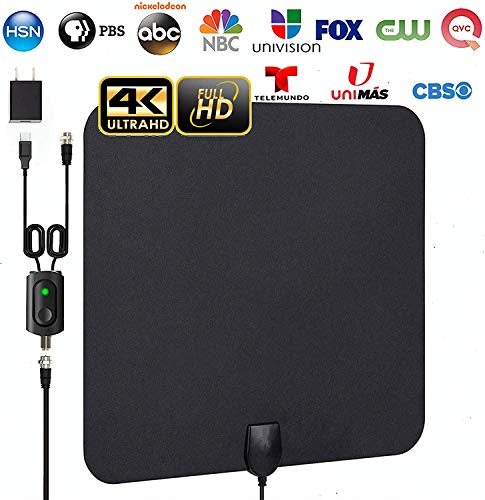 [Latest 2020] Digital Amplified 4K HD Indoor Smart TV Antenna – 60 150 Miles Range Support 1080p and Older TV's Powerful HDTV Best Amplifier Signal Booster – 9.8ft Coax Cable/USB Power Adapter
