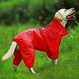 weichuang Die Kleidung für Haustiere Haustier Hund Raincoat Reflektierende wasserdichte Zipper Kleidung Hoher Kragen mit Kapuze Overall for kleine Große Hunde Overalls Regen Mantel Labrador Kleider