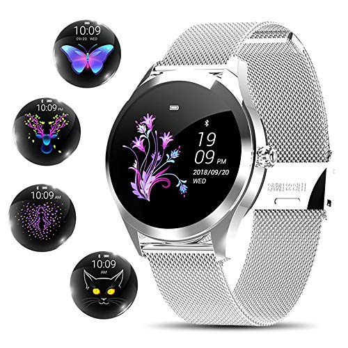 Smart Watch for Women,Elegant&High-end Sylish Stainless Steel IP68 Waterproof Smartwatch Fitness Tracker with Heart Rate Sleep Monitoring Calories Pedometer Activity Tracker,Gift for Lady Girls,Silver
