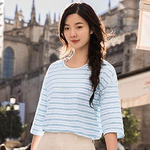DXYXHLK T-Shirt Femme t-Shirt décontracté pour Fille décolleté Rond féminin Causal col Rond