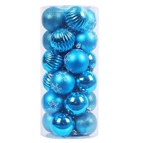 YILEEY Adornos de Navidad Decoracion Arboles de Navidad Bolas de Plastico, Azul, 24 Piezas en 4 Tipos, Caja de Bolas de Navidad de Plástico Inastillable con Percha, Adornos Decorativos
