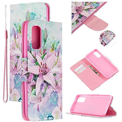 Nadoli Leder Hülle für Samsung Galaxy A71,Lilie Blumen Pu Leder Buchstil Magnetverschluss Trageschlaufe Klapphülle Brieftasche Schutzhülle mit Standfunktion