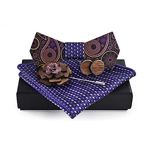 ASFF Pajarita Superficie Impresa Paisley Broche Fular de Madera Pajarita Boda Ocasional de la Camisa de la Pajarita Traje Regalo de cumpleaños para el Amigo del Esposo (Color : C4, Size : Medium)