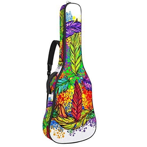 Bolsa de guitarra Hippie con diseño de símbolo de la paz con plumas de color acolchado para guitarras acústicas, clásicas y eléctricas, tamaño completo