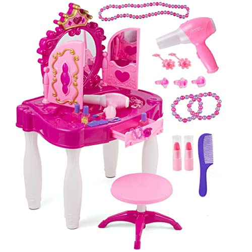 Pretend Play Kids Vanity Table and Chair Beauty Mirror and Accesories Play Set with Fashion & Makeup Accessories for Girls