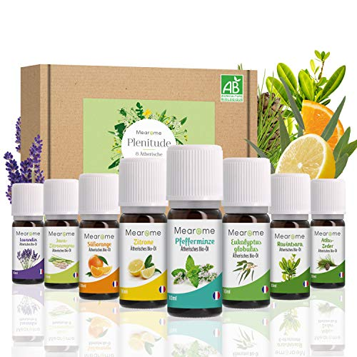 ÄTHERISCHE ÖLE SET BIO Zertifiziert⎟Duftöl Pur 100% Naturrein Aroma Öl Diffuser⎟Ravintsara Lavendin Pfefferminzöl Zitrone Eukalyptusöl Süßorangenöl Aromatherapie Geschenk Idee Massageöle Geschenkset