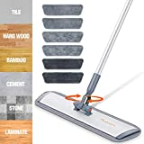 Microfiber Mop Floor Cleaning System,Baban 60' Hardwood Floor Mop with Long Handle and Cleaning Brush, Durable Aluminum Mop with 6 Microfiber Mop for Wet and Dry Use for Wood, Walls, Vinyl, Kitchen