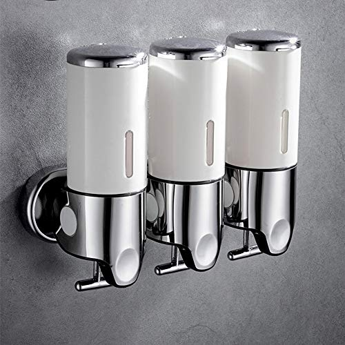 prosfalt 3 in1 Chamber Wall Mounted Bathroom Shower Pump Dispenser and Organizer-Holds Shampoo, Soap, Conditioner, Shower Gel, for Bathroom Kitchen Hotel (White)