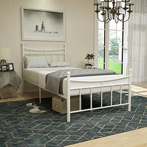 mecor Metallbett 90x200 Bettgestell Bettrahmen mit Lattenrost Gästebett Einzelbett Bettrahmen Jugendbett mit Kopfteil Design, Bett In milchweiß