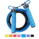5BILLION Speed Jump Rope - Nature Handle - Adjustable with Ball Bearings - Workout for Double Unders, WOD, Outdoor, MMA & Boxing Training (Bend-Lake)