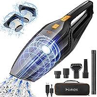 HIMOX Aspirador de Mano Sin Cable Potente de 8000Pa Aspiradora Inalámbrico Recargable Portátil con 2 Filtro 120W/2500mAh Mini Aspirador de Mano Seco y Húmedo para Casa Coche Oficina
