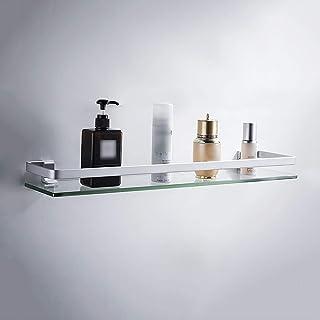 Étagère de salle de bain En Verre Trempé, 60 80cm Tablette Murales de Douche Sans Perçage Tablette Avant Rectangulaire À M...