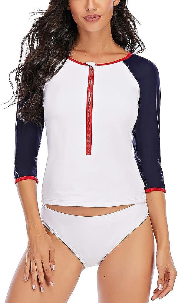 Jeatyuen Women's Long Sleeve Rash Guard and Swim Shirt 2 Piece Tankini Set Bathing Suits