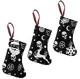 LOOE NBE Funny Skull Element Pattern Christmas Stockings 3 Pcs Set 7.5' Santa Christmas Decorations and Family Holiday Xmas Party Accessory