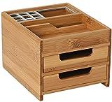 Schreibtischbox M Bambus/Alu, Multifunktions Schreibtischorganizer aus Holz mit Stifteköcher,...