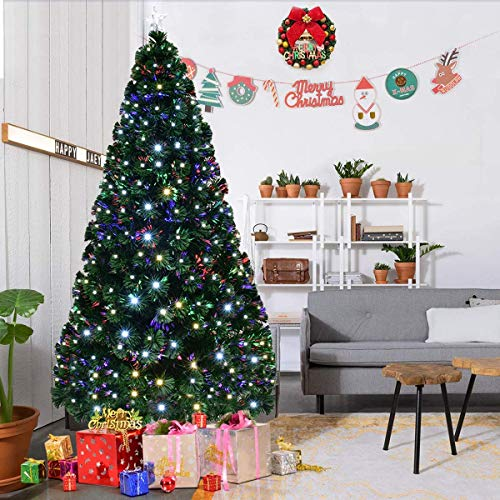 HAPPYGRILL 6FT Pre-lit Christmas Tree Fiber Optic Artificial Christmas Tree with Metal Stand, 230 LED Lights with 8 Flash Modes, 230 Branches, for Indoor Home Holiday Décor