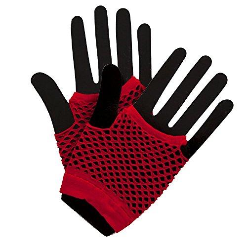 80's Net Gloves - Neon RED Fancy Dress Accessory
