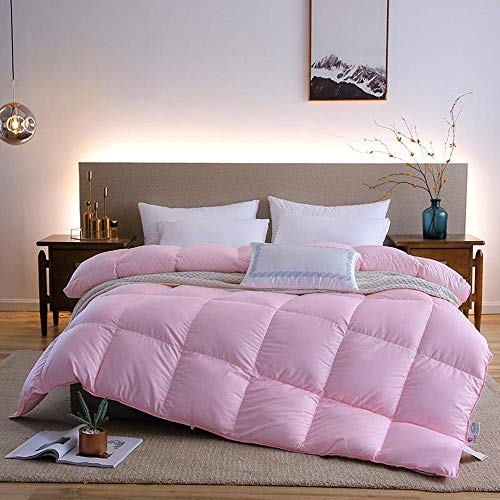 cyxb Anti Dust Mite & Down Proof Fabric,Goose/Duck Down Quilt Duvets Thicken Winter warm feather Comforters Cotton Cover King Queen Twin Full-Pink_150*200cm/59 * 79'/7.7LB