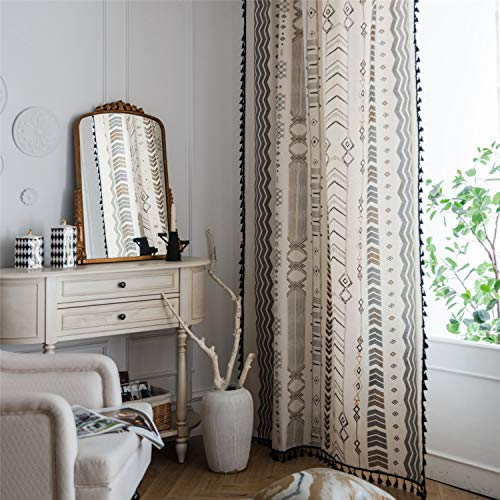 "ABREEZE Bohemian Cotton Linen Curtain Panel with Black Tassels Country Style Geometric Print Room Darkening Rod Pocket Window Curtain One Panel (Arrow,59"" W x 63"" L"