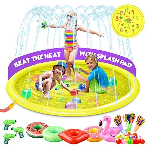 Value Smash Splash Pad & Sprinkler for Kids with Bonus Water Toys, Water Guns & Balloons for Ultimate Water Fun - Outdoor Swimming Pool for Babies