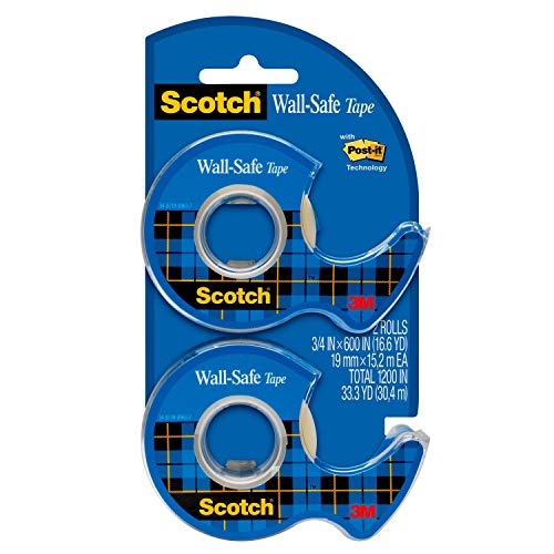Scotch Wall-Safe Tape, 2 Dispensered Rolls, Sticks Securely, Removes Cleanly, Invisible, Designed for Displaying, Photo Safe, 3/4 in x 600 in (183-DM2)