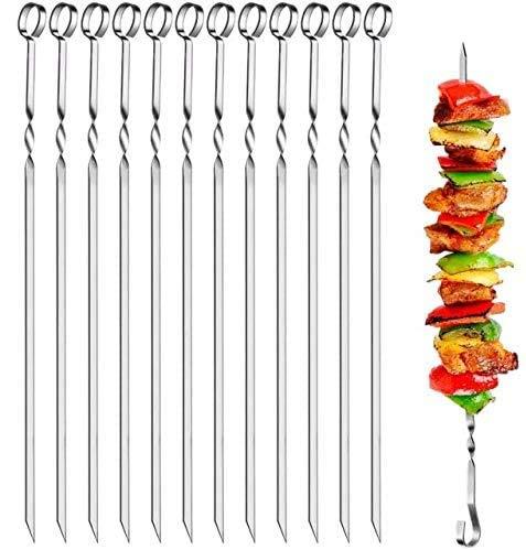 HEAWAA 30 Stück Grillspieße Schaschlikspiesse,40cm Edelstahl Grill Kabob Spieße, Edelstahl Lange Wiederverwendbare Barbecue-Spieße