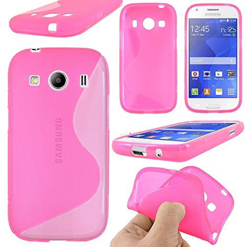 ebestStar - Cover Compatibile con Samsung Ace 4 Galaxy SM-G357FZ Custodia Protezione S-Line Design Silicone Gel TPU Morbida e Sottile, Rosa [Apparecchio: 121.4 x 62.9 x 10.8mm, 4.0'']