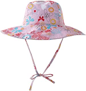 DANMY Baby Girl Sun Hat with UPF 50+ Outdoor Adjustable Beach Hat with Sun Protection Wide Brim Bucket Hat