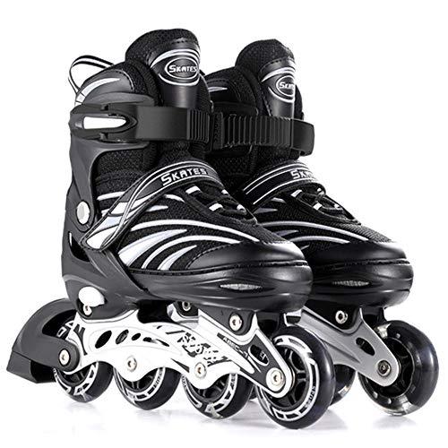 Kinder Inliner Herren Damen verstellbare Inlineskates Größe 26-43 Unisex Fitness Skates für Erwachsene Rädern Rollschuhe für Jungen Mädchen Anfänger Dreifacher Sicherheitsschutz-L(39-43) schwarz