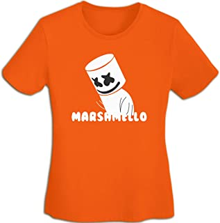 マシュメロ Marshmello Tシャツ レディース 春夏 プリント 創意デザイン ファション カジュアル おもしろ おしゃれ 快適 半袖 吸汗速乾 無地トップス ストリート 薄手 体型カバー 女性