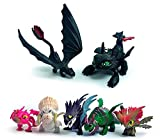 Set 7 pcs How to Train Your Dragon Night Fury Toothless / Action Figures / Cartoon Figures / Doll Toy / Cake Decorating / Cake Toppers / Night Fury Theme Decorations Toothless / 2-4 inches