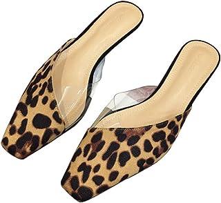 [lsjdln] ヒョウ柄 ミュール スエード スリッパ サンダル スクエアトゥ 歩きやすい 疲れない レディース靴 透明 ぺたんこ やわらかい vカット コンフォートシューズ ヒールなし カジュアルシューズ デイリー オフィス