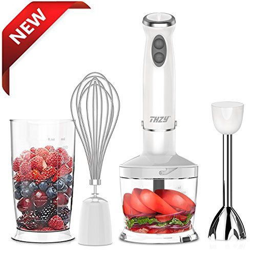 XProject Immersion Powerful 4-in-1 Stainless Hand Blender Stick, Processor, Whisk and Beaker Smoothies Baby Food Yogurt Sauces Soups, Medium, White