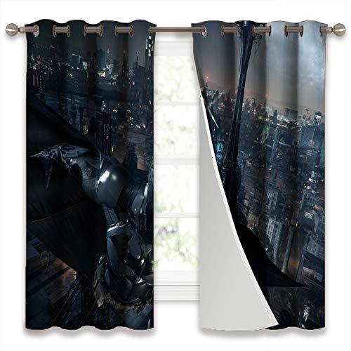 SSKJTC Rideaux occultants à isolation thermique pour chambre à coucher Batman Arkham Knight Game Batman Fly In The Sky 106 x 160 cm