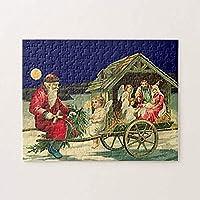 大人と子供のための木製ジグソーパズル500ピースヴィンテージサンタとキリスト降誕のシーンジグソーパズル面白いパズル減圧おもちゃギフト家の装飾15×20.5インチ