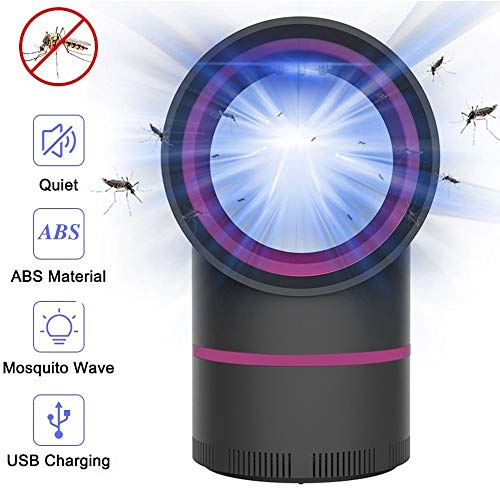 Dysel Insektenvernichter Elektrisch Led Insektenlampe, Photokatalytische Fliegenfalle Schlafzimmer USB Mückenvernichter Insekten Mörder mit Wiederaufladbarer Akku Baby Nachtlichtblack