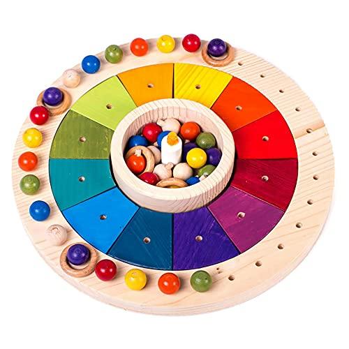 Calendario Waldorf Montessori en madera 33 cm, Juego Educativo para Niños, Juguete Didáctico para Aprender los Dias, Semanas, Meses, Estaciones, Producto Artesano Hecho en España