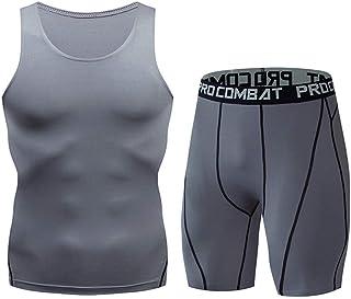 Conjunto de Trajes Deportivos de Verano de Secado rápido para Hombres, Ropa Interior Deportiva Hombres Fitness Sudor de respiración Chaleco Pantalones Cortos Apretado Top