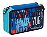 Astuccio 3 Zip YUB Graffiti, Blu, Attrezzato per la scuola: matite, penne…