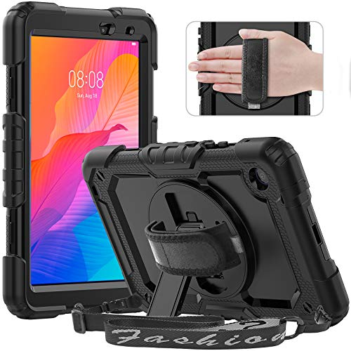 Timecity Case for Lenovo Tab M8 HD 2nd Gen/Tab M8 FHD 2019 Case, Full-body Protective Shockproof Tablet Cover with Screen Protector, 360° Rotating Stand, Hand/Shoulder Strap for Lenovo M8 8.0', Black