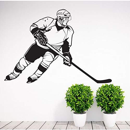 Verwijderbare Sport Hockey Player Muurstickers Vinyl Art Home Decoratie Decals Vinyl Muren Whiteboard Behang Verwijderbaar 61X42Cm