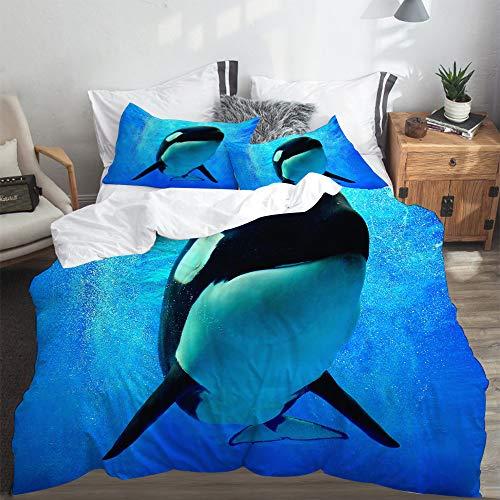 LASINSU Bedding Bettwäsche,Blauer Schwertwal Killerwal, der unter Wasser mit Blasen Weltmeer Orlando San Diego schwimmt,Bettwäsche 240x260cm mit Kopfkissenbezug 2(50x80cm)