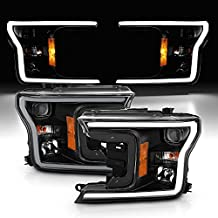 AmeriLite for 2018 2019 2020 Ford F150 Headlights Black Quad Projector with LED Light Bar Assembly Replacment Set – Driver and Passenger
