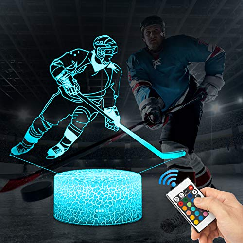 3D Eishockey Lampe LED Nachtlicht mit Fernbedienung, 16 Farben Wählbar Dimmbare Touch Schalter Nachtlampe Geburtstag Geschenk, Frohe Weihnachten Geschenke Für Mädchen, Kinder
