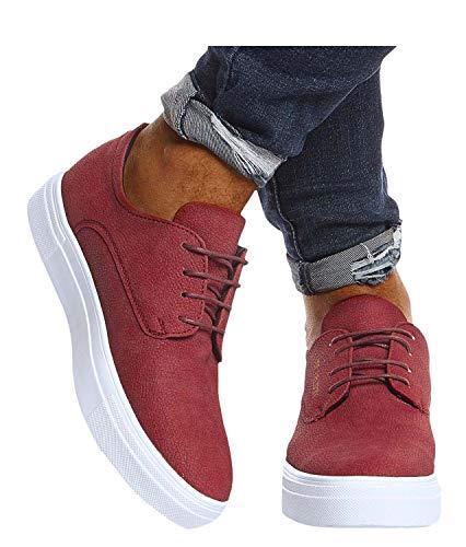 Leif Nelson Herren Schuhe für Freizeit Sport Freizeitschuhe Männer weiße Sneaker Sommer Coole Elegante Sommerschuhe Sportschuhe Weiße Schuhe für Jungen Winterschuhe Halbschuhe LN207 42 Bordeaux