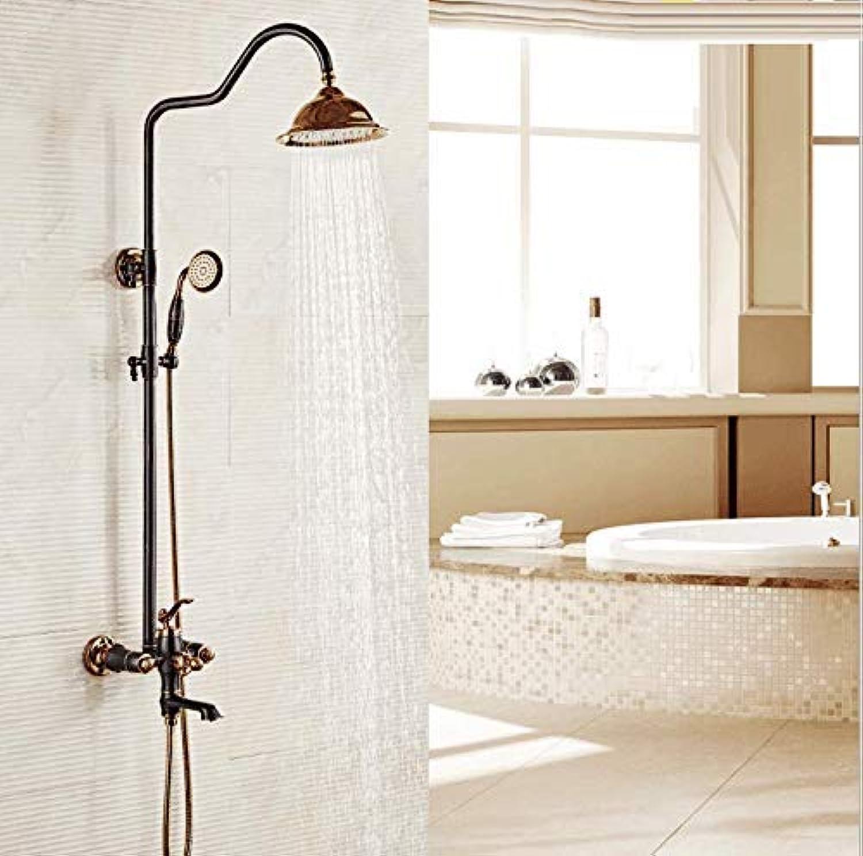 GFF Dusche Badezimmer Dusche Thermostat Handbrause Set Kupfer warmes und kaltes Wasser Bad Dusche Mischbatterie